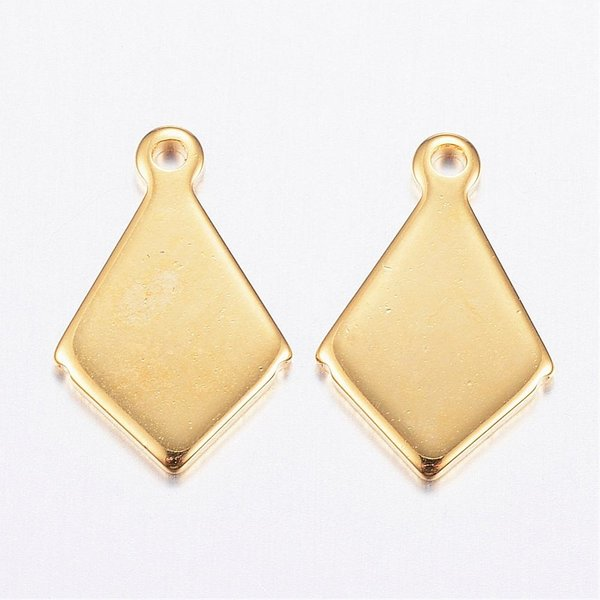 4 pieces Stainless Steel Rhombus Charm Golden 13x8mm