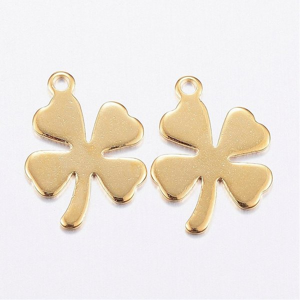 4 pieces Stainless Steel Lucky Clover Charm Golden 14x10mm