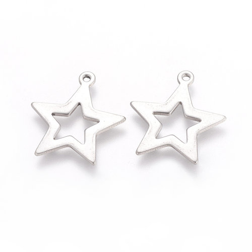 3 pieces Stainless Steel Large Star Charm 21x20mm