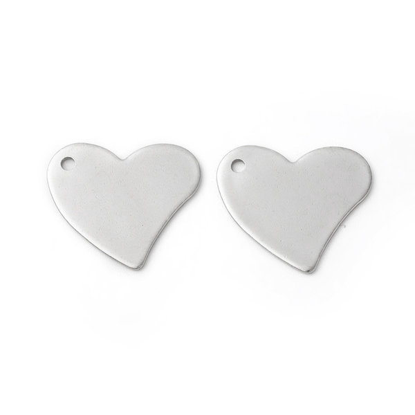 5 pieces Stainless Steel Heart Charm Silver Large 18x20mm
