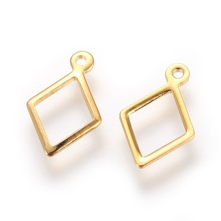 6 pieces Stainless Steel Rhombus Charm Golden 14x9mm