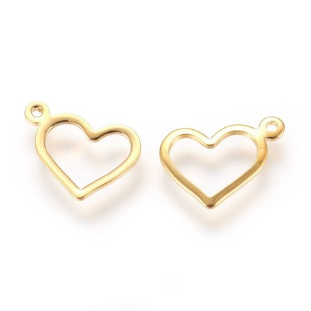 4 pieces Stainless Steel Heart Charm Golden 10x14mm