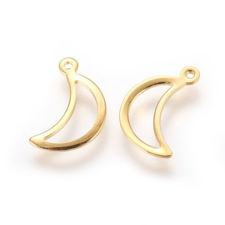 4 pieces Stainless Steel Moon Charm Golden 15x9mm