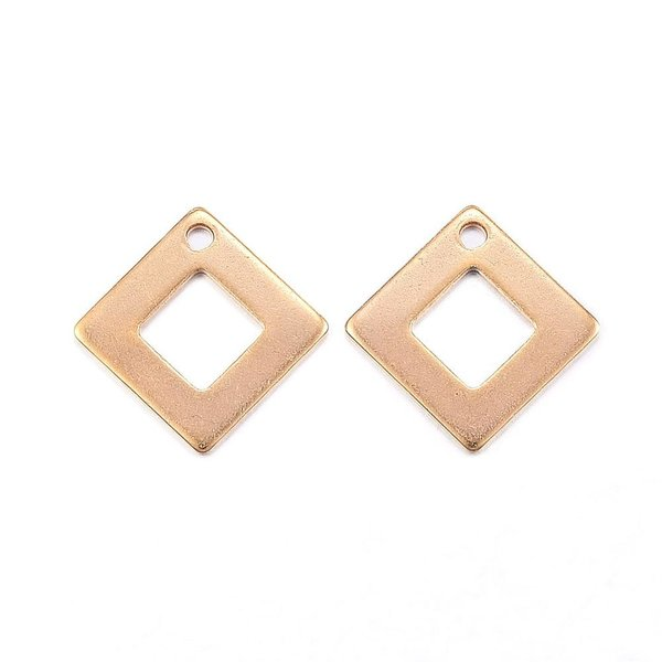 4 pieces Stainless Steel Rhombus Charm 14mm Golden