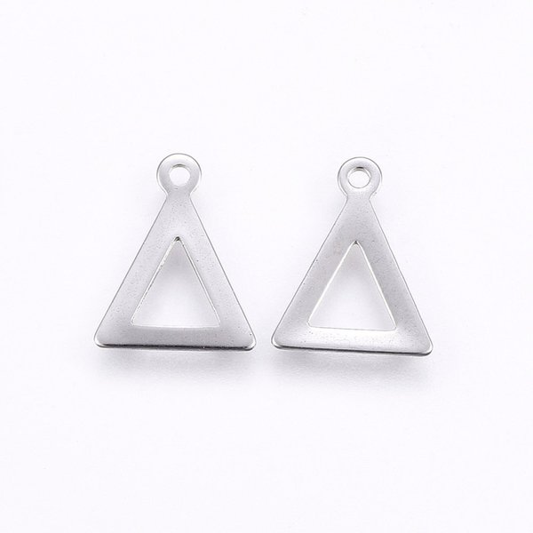 6 pieces Stainless Steel Piramide Charm 12x9mm Silver