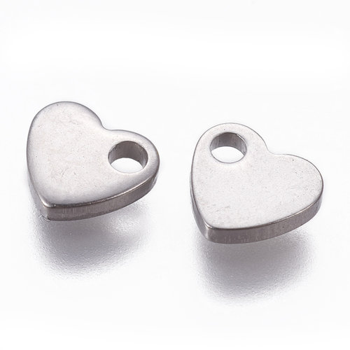 8 pieces Stainless Steel Heart Charm 6x7mm Silver
