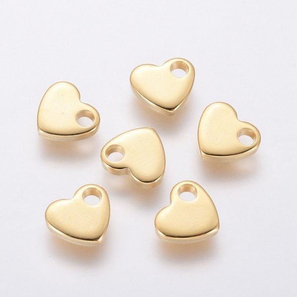 8 pieces Stainless Steel Heart Charm 5x6mm Golden