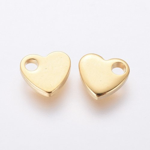 8 pieces Stainless Steel Heart Charm 6x7mm Golden