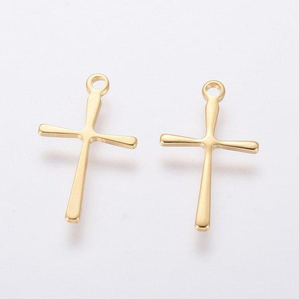 4 pieces Cross Charm 16x10mm Golden