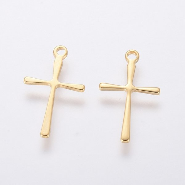 4 pieces Stainless Steel Cross Charm 16x10mm Golden