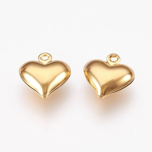 3 pieces Stainless Steel Heart Charm 13x12mm Golden