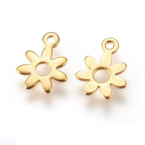 5 pieces Stainless Steel Flower Charm 8x11mm Golden