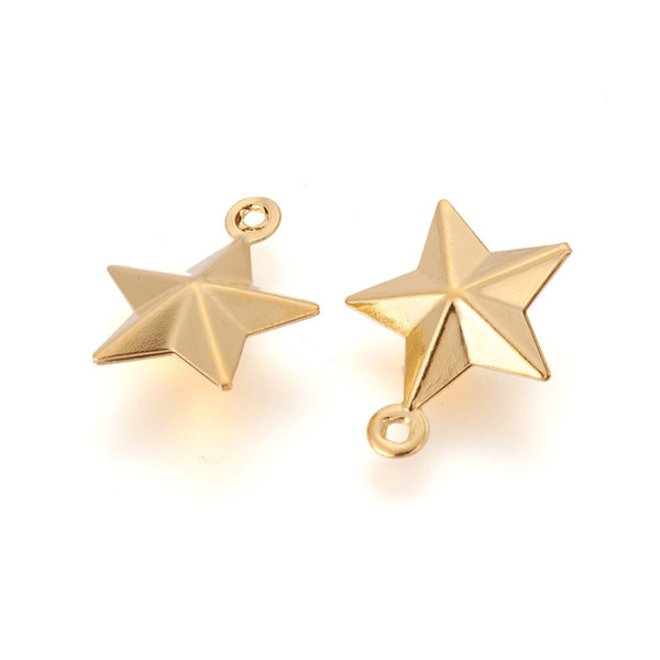 5 pieces Stainless Steel Star Charm 15x12mm Golden