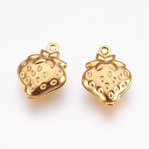 3 pieces Stainless Steel Strawberry Charm 15x11mm Golden