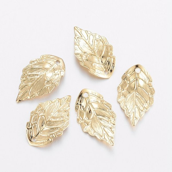 4 pieces Stainless Steel Leaf Charm 18x10mm Golden