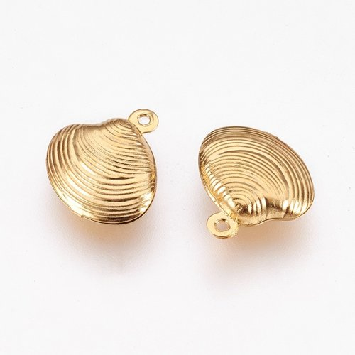 3 pieces Stainless Steel Shell Charm 14x13mm Golden