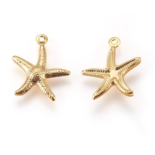 3 pieces Stainless Steel Starfish Charm 17x15mm Golden