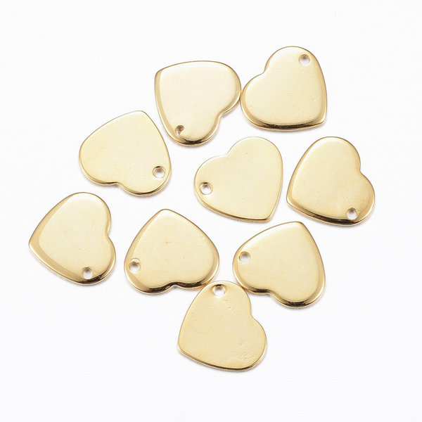 4 pieces Stainless Steel Heart Charm 10x11mm Golden