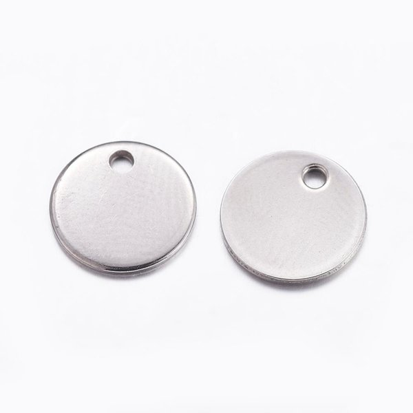 5 pieces Stainless Steel Coin Charm 10mm Silver