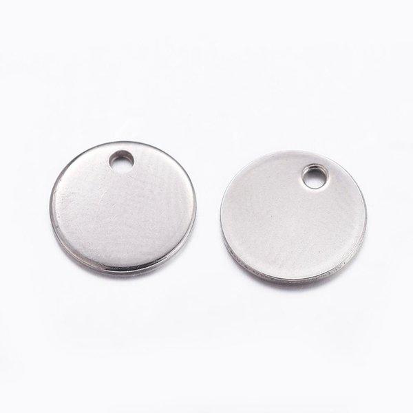 5 stuks Stainless Steel Muntje Bedel 10mm Zilver