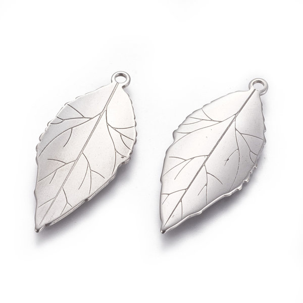 4 pieces Stainless Steel Leaf Charm 37x17mm Silver