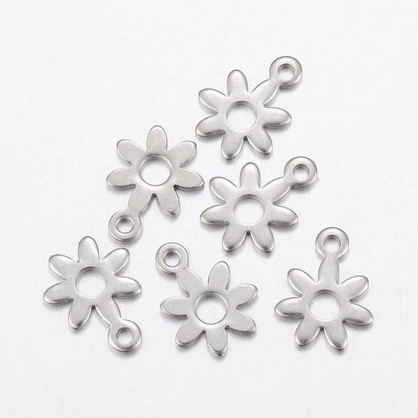 6 pieces Stainless Steel Flower Charm 11x8mm Silver