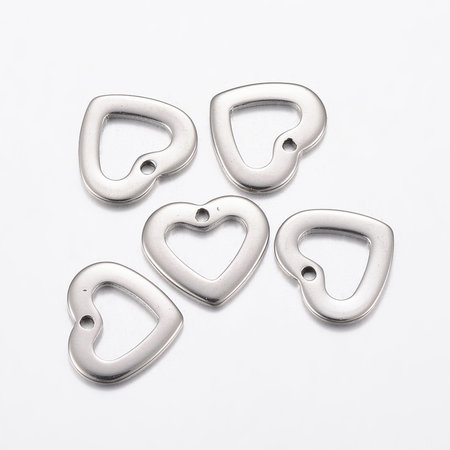 5 pieces Stainless Steel Heart Charm 10x11mm Silver