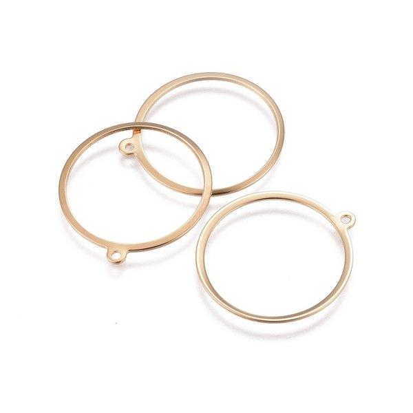 4 stuks Stainless Steel Ring Bedel 28x25mm Goud