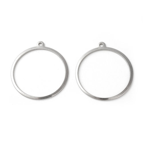 4 pieces Stainless Steel Ring Charm 28x25mm Silver