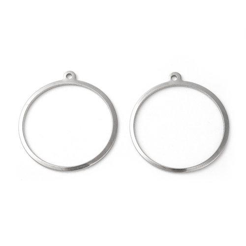 4 stuks Stainless Steel Ring Bedel 28x25mm Zilver