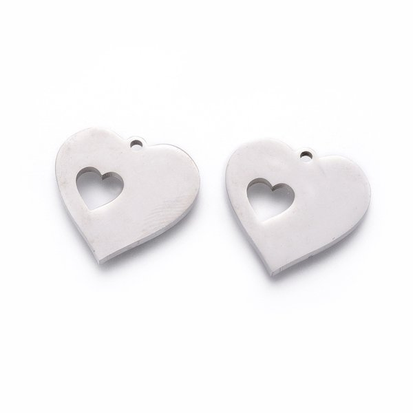 3 pieces Stainless Steel Charm with Heart 16mm Silver