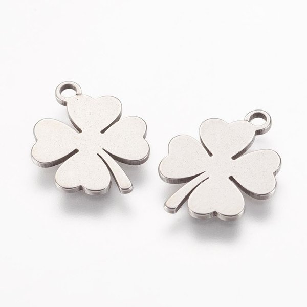 4 pieces Stainless Steel Clover Charm 15x12mm Silver