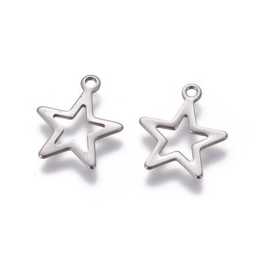 5 pieces Stainless Steel Star Charm 15x13mm Silver