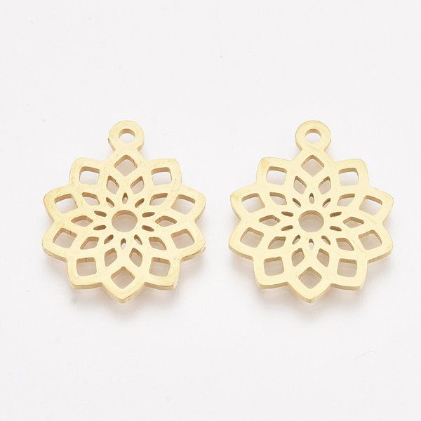 3 pieces Stainless Steel Mandala Charm 19x16mm Golden