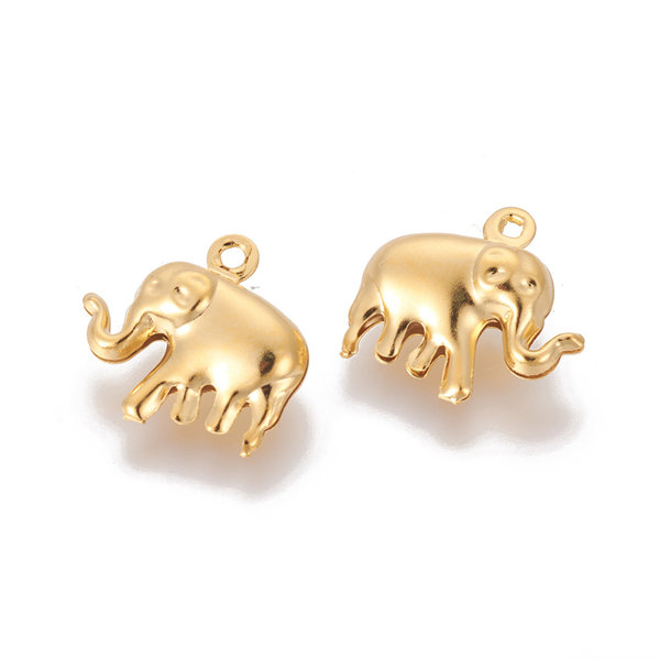 3 pieces Stainless Steel Elephant Charm 15mm Golden
