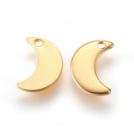 4 pieces Stainless Steel Moon Charm 10x7mm Golden