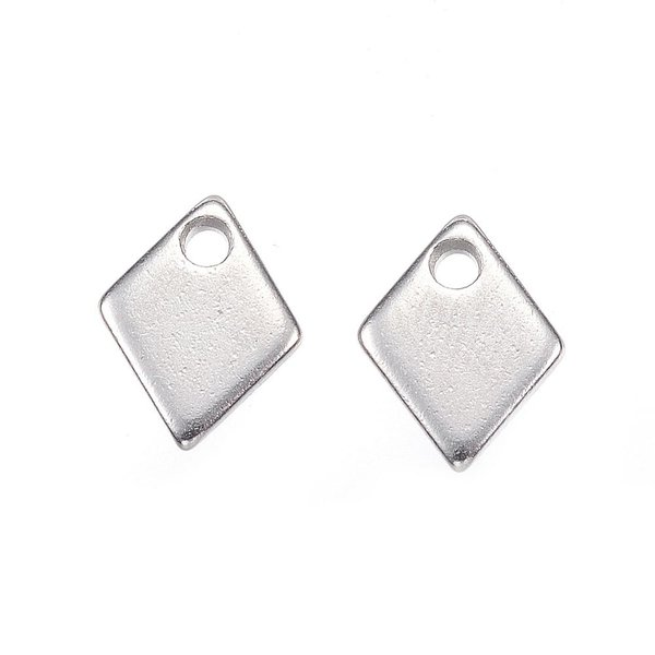 6 pieces Stainless Steel Rhombus Charm 9x7mm Silver