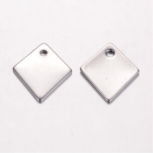 4 pieces Stainless Steel Rhombus Charm 17x14mm Silver
