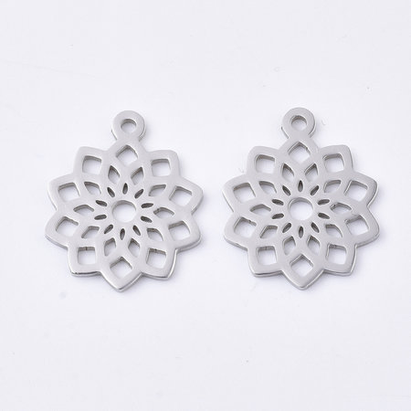 3 pieces Stainless Steel Mandala Charm 19x16mm Silver