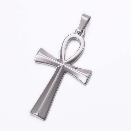 Stainless Steel Ankh Bedel 45x25mm Zilver