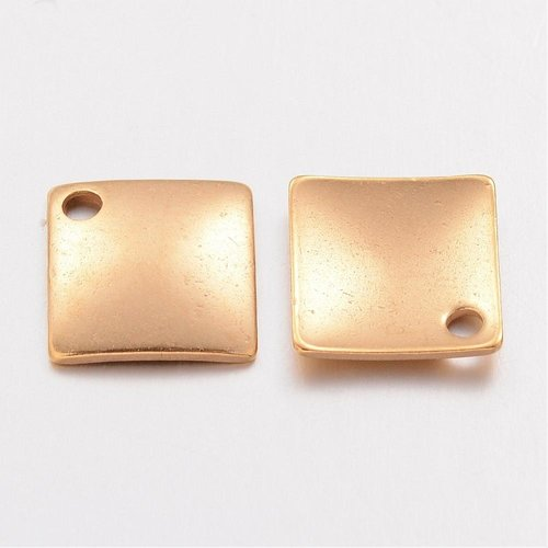 4 pieces Stainless Steel Rhombus Charm 14x14mm Golden