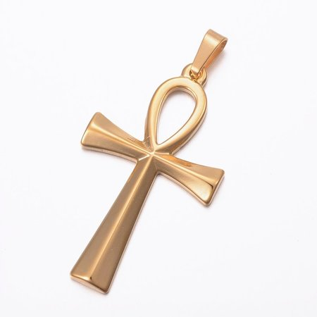 Stainless Steel Ankh Charm 45x25mm Golden
