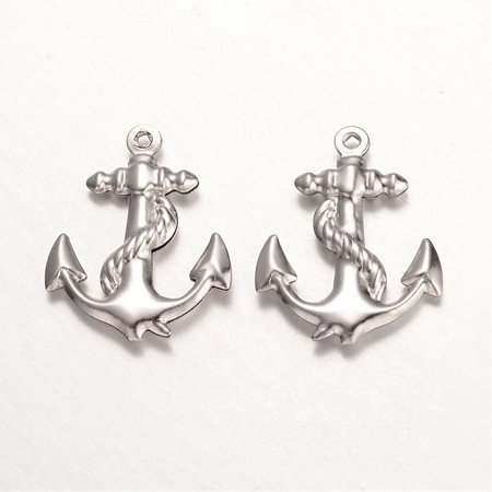 5 pieces Stainless Steel Anchor Charm 24x19mm Silver