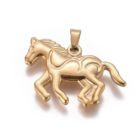 Stainless Steel Horse Charm 24x35mm Golden