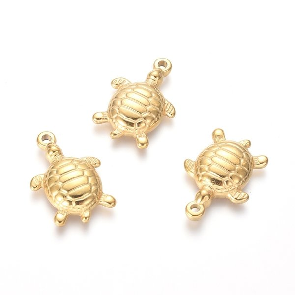 3 pieces Stainless Steel Tortoise Charm 21x15mm Golden