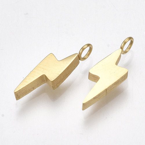 4 pieces Stainless Steel Lightning Charm 14x4mm Golden