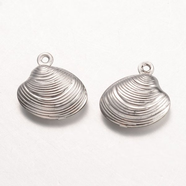 6 pieces Stainless Steel Shell Charm 14x14mm Silver