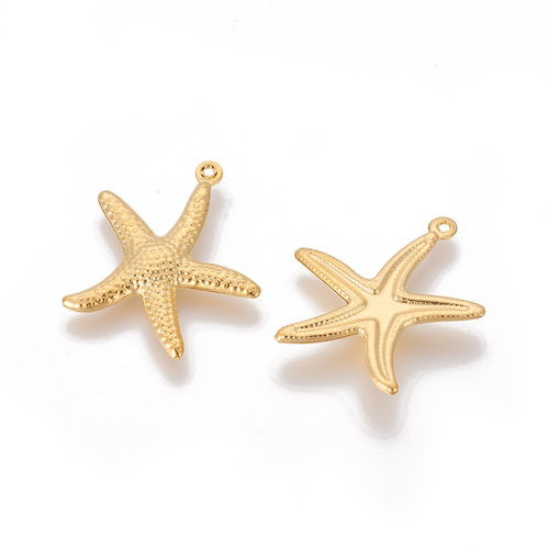 3 pieces Stainless Steel Starfish Charm 23x21mm Golden