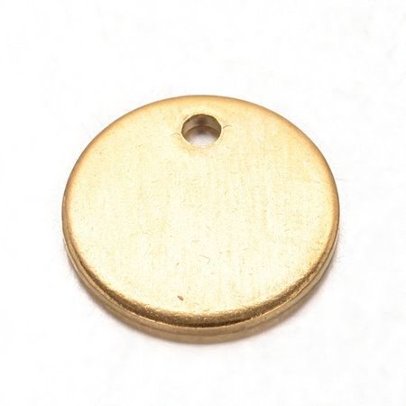 5 pieces Stainless Steel Coin Charm 10mm Golden