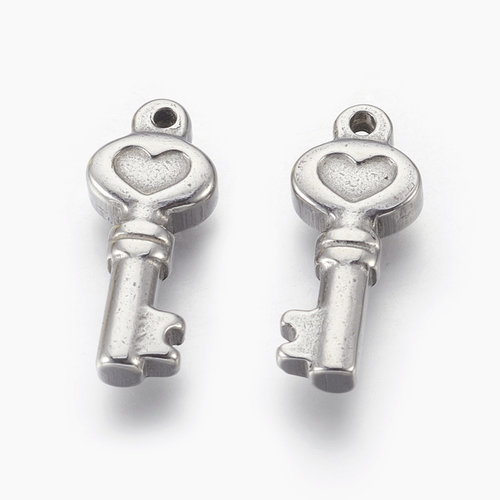 3 stuks Stainless Sleutel Met Hartje Bedel 19x8mm Zilver